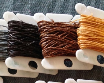 3 ply 5 yards Waxed Irish Linen Crawford Cord BLACK GREY BROWN yellow butterscotch book binding jewelry string