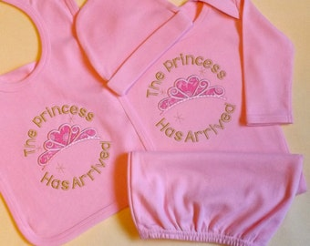 Baby Gown set: The Princess Has Arrived Gown, Hat and Bib