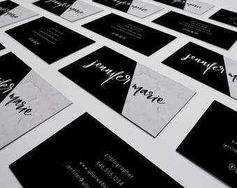 Marble Business Cards Design   Black and White Business Card Design