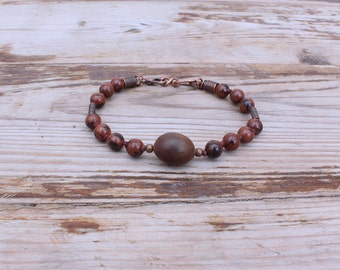 Red Jasper and Lotus Seed Bracelet, Hand-Knotted Bracelet with Clasp, Yoga Jewelry