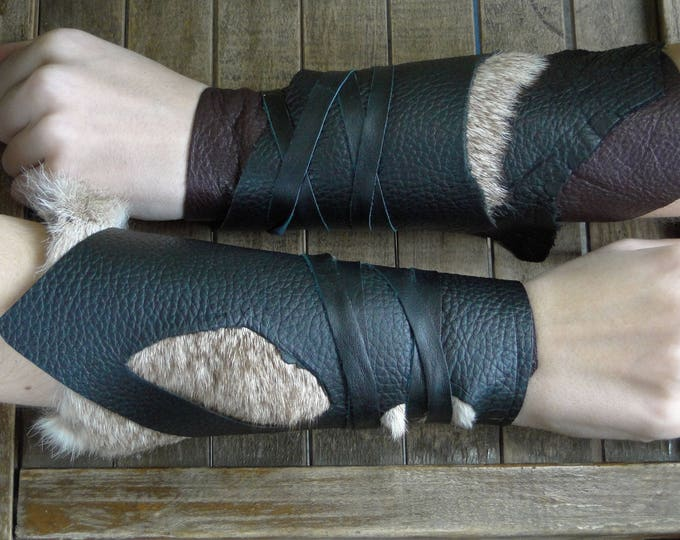 Leather Cuffs - Warrior Viking Tribal Larp Costume Cosplay - Pair #23b