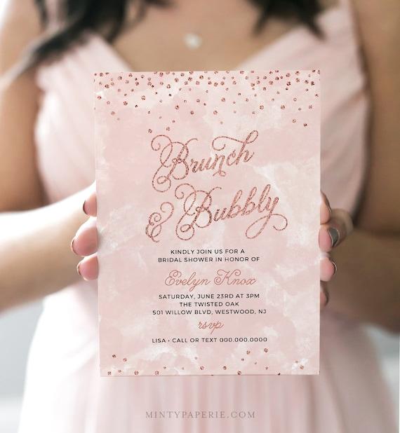 Bridal Shower Invitation Template, Brunch and Bubbly, Instant Download, Wedding Shower, Rose Glitter, Fully Editable, DIY Digital  #132BS