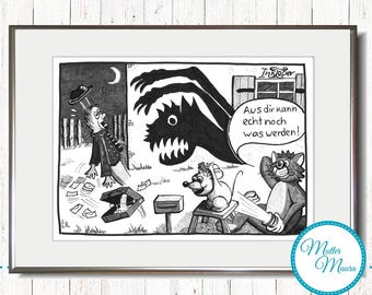 "Graphic ""Attack!"" Original Cartoon Ink Drawing"