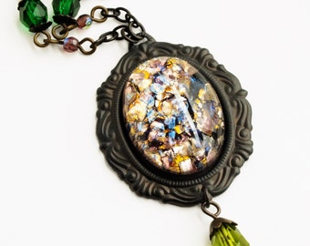 Amethyst Opal Necklace Amethyst Necklace Large Glass Pendant Harlequin Fire Opal Jewelry Purple Green Glass Amethyst Glass Jewelery