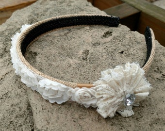 Head Band - Burlap & Lace Roses
