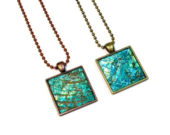Turquoise Blue Green Modern Necklace, Square Pendant, Repurposed, Recycled, Upcycled CD Jewelry in Copper or Brass