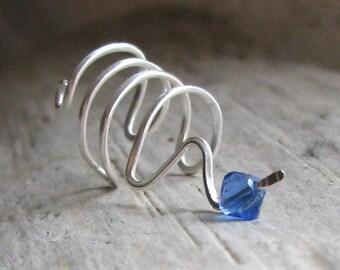 Sterling Silver Zig Zag Birthstone Ear Cuff Unpierced Earring Nonpierced Earcuff Personalized Cartilage