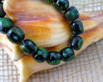 Black and Green Glass Barrel Beads