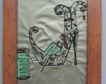 Gerahmte bestickten Schuh Fee Design Wandkunst hängen