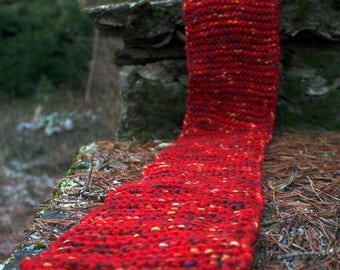 Hand knitted red shawl, Hand knitted red scarf, Hand knitted striped scarf, Hand knitted scarf