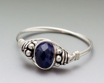 Sodalite Faceted Bali Gemstone Sterling Silver Wire Wrapped Bead Ring - Made to Order, Ships Fast!