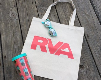 RVA Tote Bag in Coral - Richmond, Virginia Tote Bag - RVA Bag - Canvas Market Bag - Reusable Richmond, Virginia Tote Bag