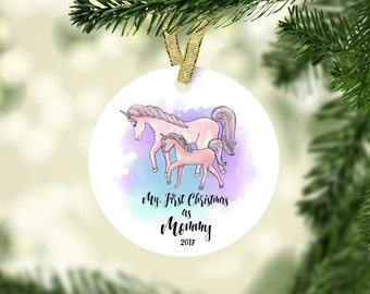 First Christmas as Mommy Ornament, Unicorn Ornament, Unicorn Christmas Ornament, Personalized Unicorn Ornament, Mommy Ornament, New Mom Gift