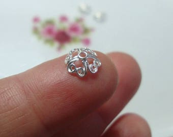 6 pcs, 7.5mm, 925 Sterling Silver Filigree Bead Cap, BC-0012