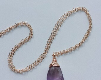 14k Rose Gold Necklace, Ametrine Necklace, Rose Gold Pendant, Ametrine Jewelry, Rose Gold Ametrine Necklace, Small Ametrine Necklace