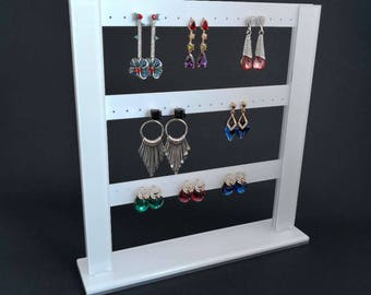 Beautiful Modern Acrylic Earring Display Holder Organizer White