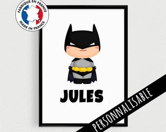 Superhero poster personalized with name - in french Scandinavian superhero inspirational kids - gift baby shower nursery
