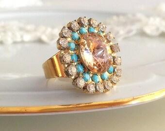 blush pink crystal ring, Swarovski blush pink Ring, adjustable Crystal Ring, turquoise and blush pink Ring Swarovski gold ring,