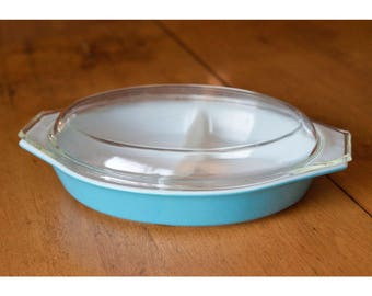PYREX Horizon Blue, Oval Divided Casserole Dish with Lid, 1 1/2 Quart, Replacement, Turquoise 1970s