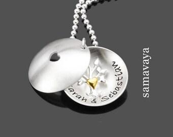 Bridal jewelry NEWLYWEDS Medallion 925 Silver Chain wedding engraving jewelry