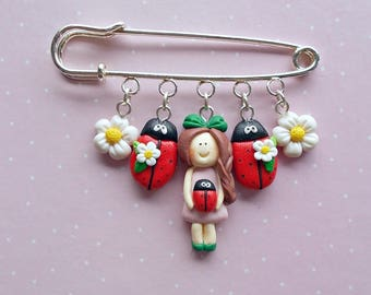 Cute Pin - Ladybug Pin - Luck Jewelry - Ladybirds Jewellery - Spring Gift - Mother's Day Gift -