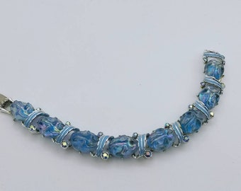 Blue Cabochon Enamel  and Rhinestone linked Bracelet Mid Century Modern Pretty