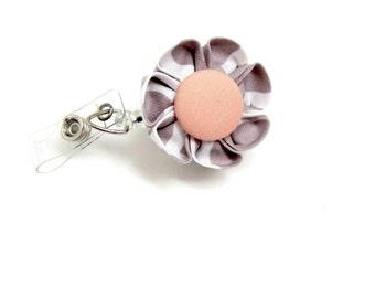 Badge Reel, Retractable ID Holder, Badge Holder, Lanyard, Grey, White & Peach Quatrefoil, Grey Peach Badge Reel-Two Styles
