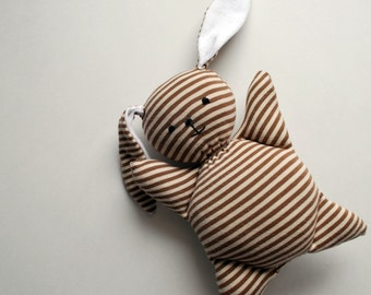Brown Stripey Mooshy Belly Bunny - Easter - baby toy - Rabbit Plush - Stuffed Animal - Upcycled - Bunny Plushie - Soft - Sweet - Small