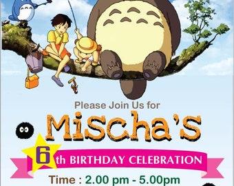 Totoro Invitation Card, Totoro Anime Birthday, Anime Birthday Theme, Totoro Party Invitation, Totoro Customized Invitation, Anime Print Item