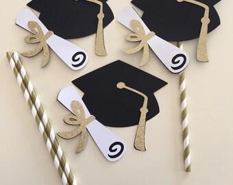 GOLD GRADUATION HAT centerpiece picks, glittery gold white black graduation centerpiece, graduation hat centerpiece