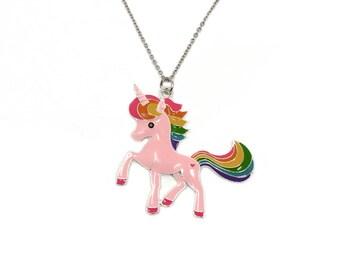 unicorn necklace, pink unicorn, kids necklace, unicorn, birthday present, silver necklace, pink necklace, unicorn jewelry, childrens jewelry