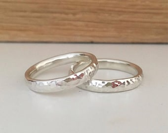 Hammered silver ring 3mm plain hammered ring can be personalised name ring
