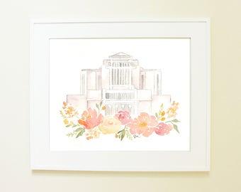 Cardston, Alberta Canada LDS Temple Watercolor Print