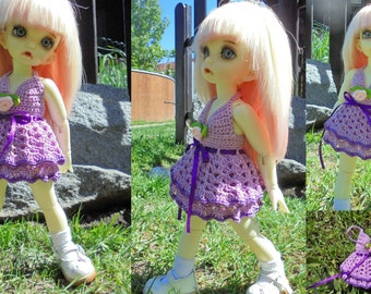 Crocheted summer cotton dress for 1-6-bjd-fairyland-LittleFee-Bisou 25 cm