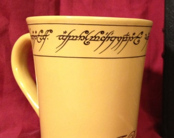 Elvish Tengwar Ring inspired Parody Precious Mug. Have your ring and drink from it too Lord LOTR