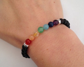 Tiger Ebony bracelet with semi precious rainbow and Sterling silver, chakra bracelet, rainbow bracelet, wood bracelet, yoga, unisex, pride