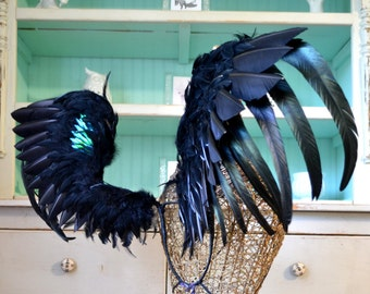 Feather Wings Faerie Angel Adult Costume Cosplay Black Beetle Wings Made to Order