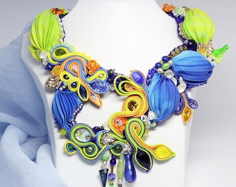 Colorful necklace for special occasion. Soutache beaded shibori necklace for prom. Hand Embroidered shibori jewelry