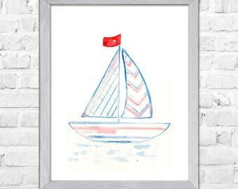 Kids Wall Art Print, Sail Boat Art, Nautical Nursery Print, Kids Art Print, Kids Wall Decor, Blue Nursery Art, Room Wall Decor