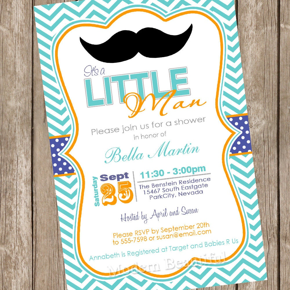 Chevron mustache baby shower invitation moustache little man zoom filmwisefo