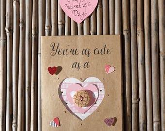 Love Card – Handmade Card – Birthday Card – Anniversary Card – Romantic Card – Anytime Card – You're As Cute As A Button Love Card