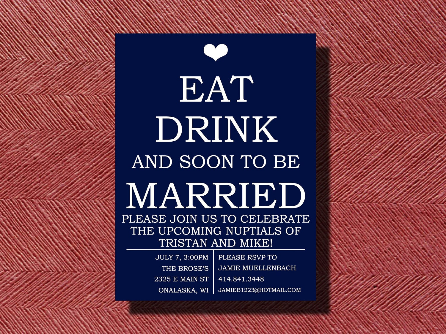 Engagement Party Invitation Eat Drink and be