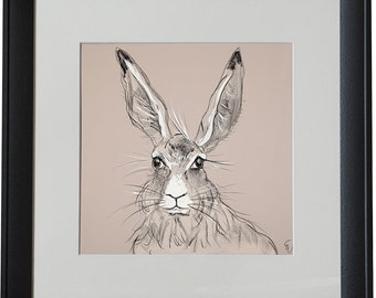 Billy the Hare Black Framed Animal Print