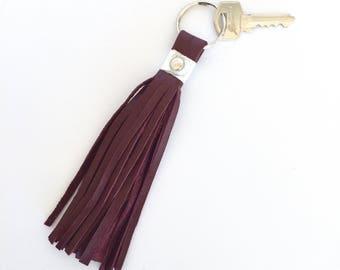 Freya Leather Tassel Key Ring:  Burgundy / Maroon & Metallic Silver Sheep Nappa