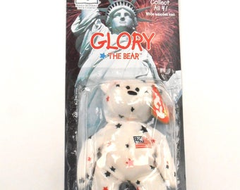 Vintage 4th of July TY Beanie Babies Glory Bear Patriotic Flag USA Stars Stripe Flag Lady Liberty Plush Toy Ronald McDonald House Charities