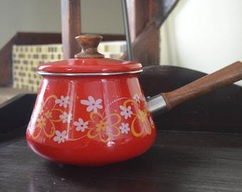 Vintage Enamel Fondue Pot/ Sauce Pot and Lid