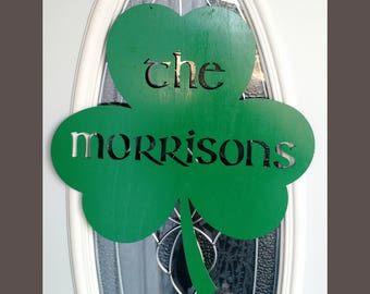 St. Patrick's Day Shamrock Door Wall Hanging Personalized
