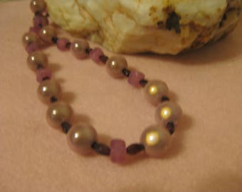 Necklace, amethyst, pink luminescent beads, lavendar glass beads