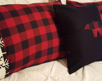 Red, Black Buffalo Check with Black Buck Cuff and Black Arrow Trim Lodge Pillowcase, All Buffalo Check Pillow cover,or Black with Bear Cover