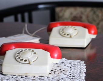 Childrens Rotary Phones - Toy Phones - Vintage Rotary Dial Telephones - White and Red Phones - Childrens Room Decor - Kids Room Decor